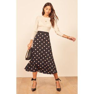 Reformation Bea Midi Skirt Kisses Polka Dots